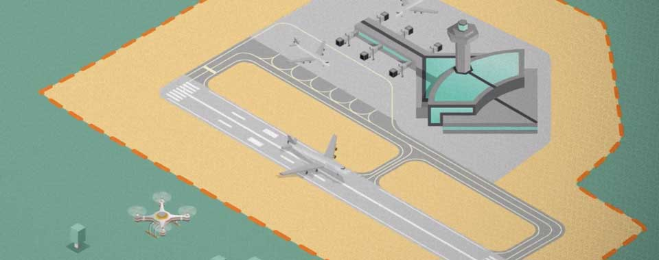 Illustration of drone flying near an airport